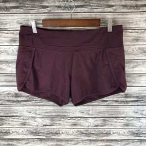 "Lululemon Run Times Shorts 4"" Black Cherry Size 8"